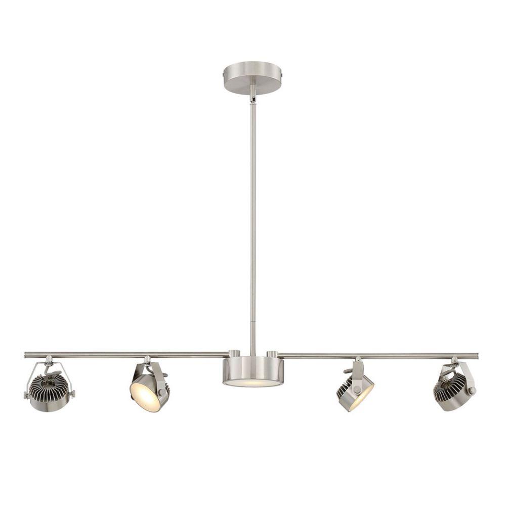 Luminaire sur rail fixe/suspendu convertible à 4 + 1 ampoules DEL en nickel satiné
