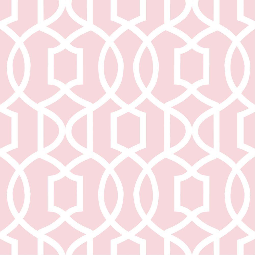 NuWallpaper Pink Grand Trellis Peel And Stick Wallpaper