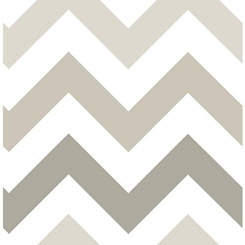 NuWallpaper Taupe Zig Zag Peel And Stick Wallpaper