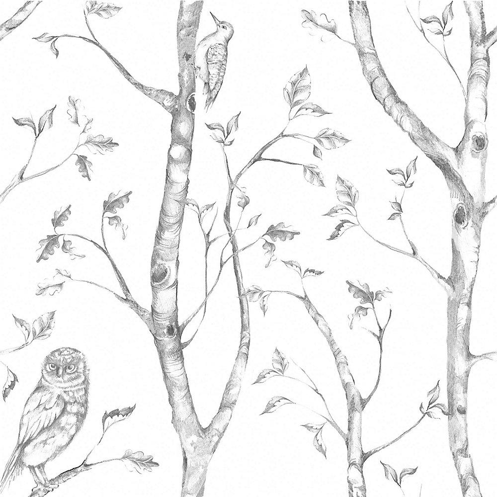 NuWallpaper Gris Woods Peler et Coller Papier Peint | Home Depot Canada