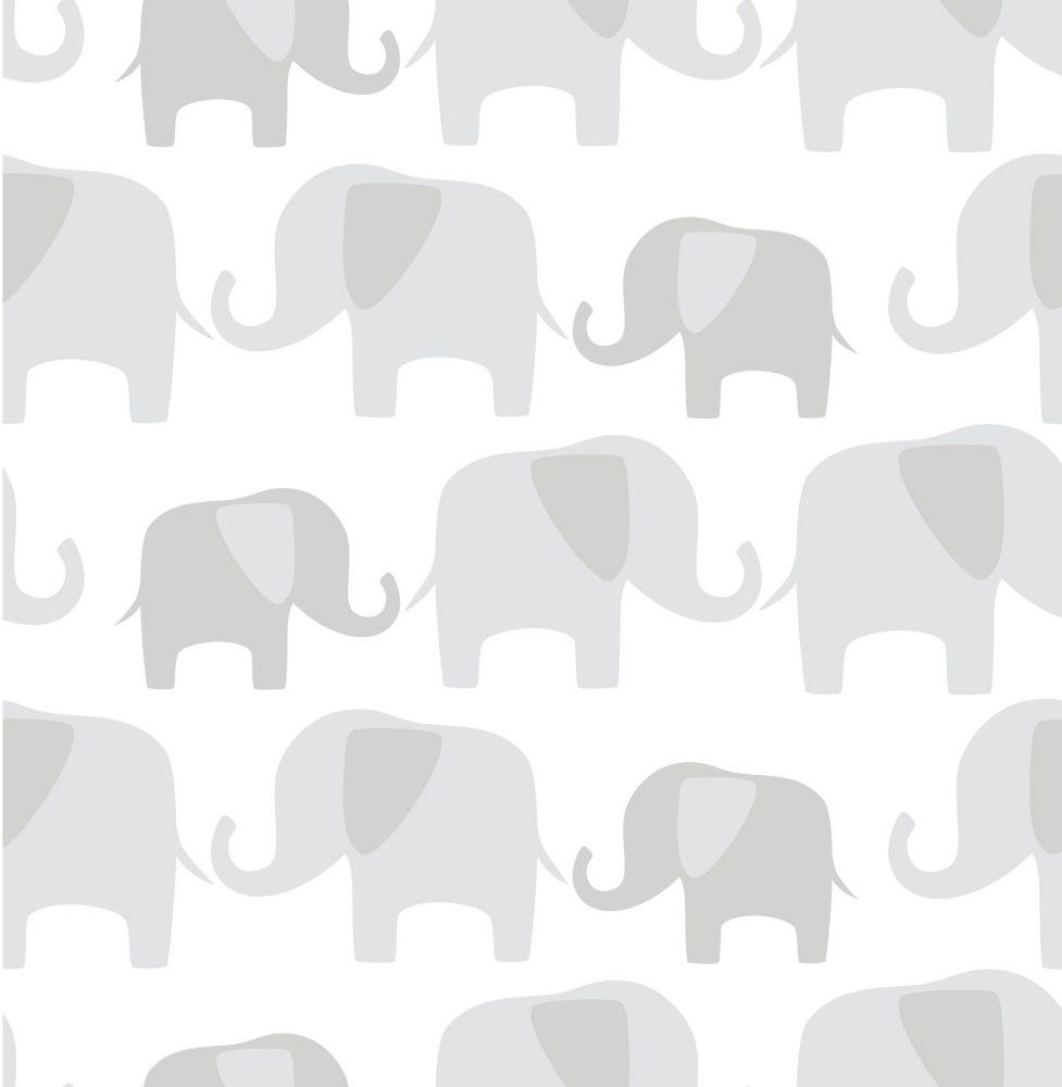 Éléphant Parade Gris Peler et Coller Papier Peint