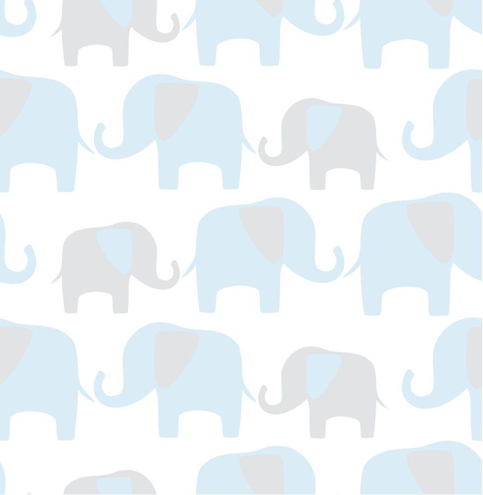 Éléphant Parade Bleu Peler et Coller Papier Peint