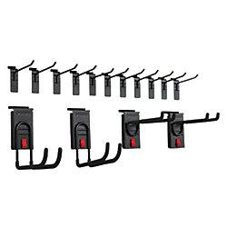 HUSKY Track Wall Starter Hook Kit in Black (15-Piece)