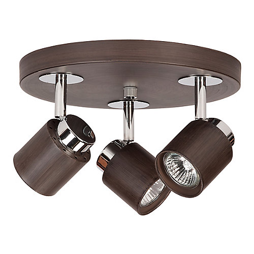Berwind 3-Light Directional LED Flushmount Canopy Light Fixture in Faux Wood Finish - ENERGY STAR®
