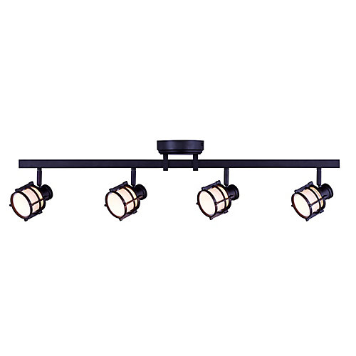 4-Light Directional LED Track Light Fixture in Antique Bronze with Round White Glass Shades - ENERGY STAR®