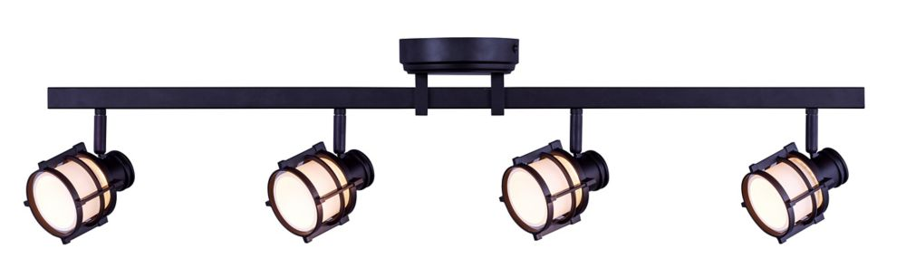 4-Light Antique Bronze Directional LED Rail Fixture With Round White Glass Shades