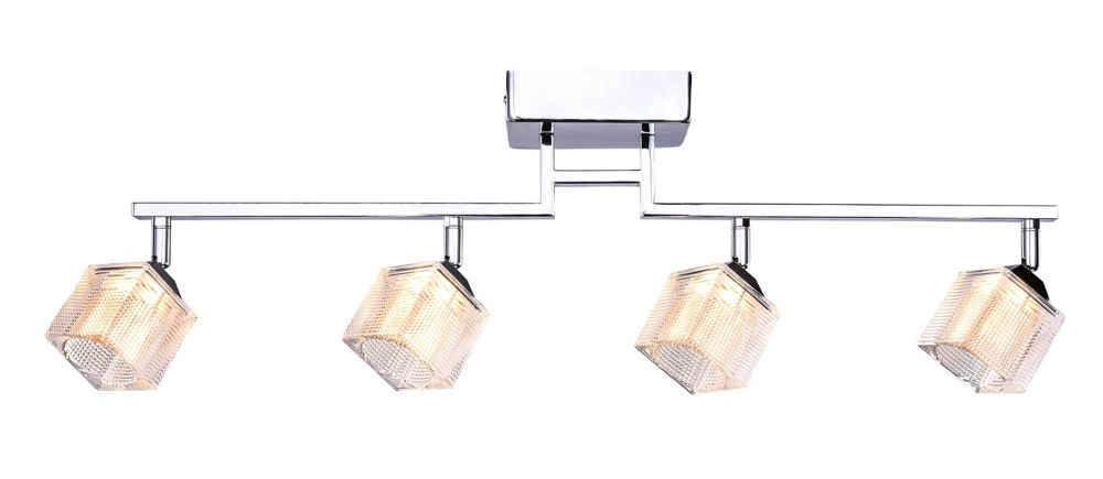 4 Light Chrome Directional LED Rail Fixture With Prismatic Glass Shade