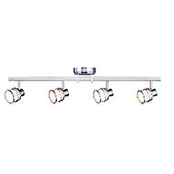 Hampton Bay 4-Light Directional LED Track Light Fixture in Pewter with Round White Glass Shades - ENERGY STAR®