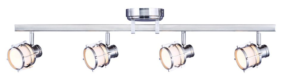 4-Light Pewter Directional LED Rail Fixture With Round White Glass Shades