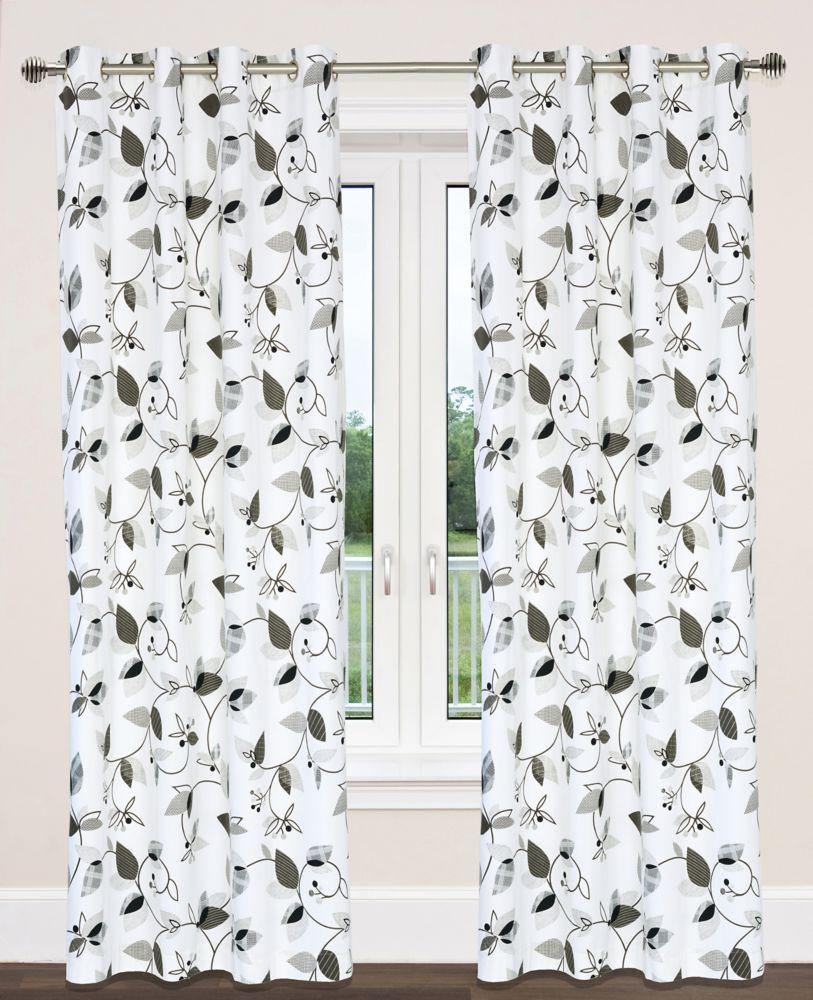 Preston 54x95-inch Cotton Grommet 2-Pack Curtain Set, Grey/Black