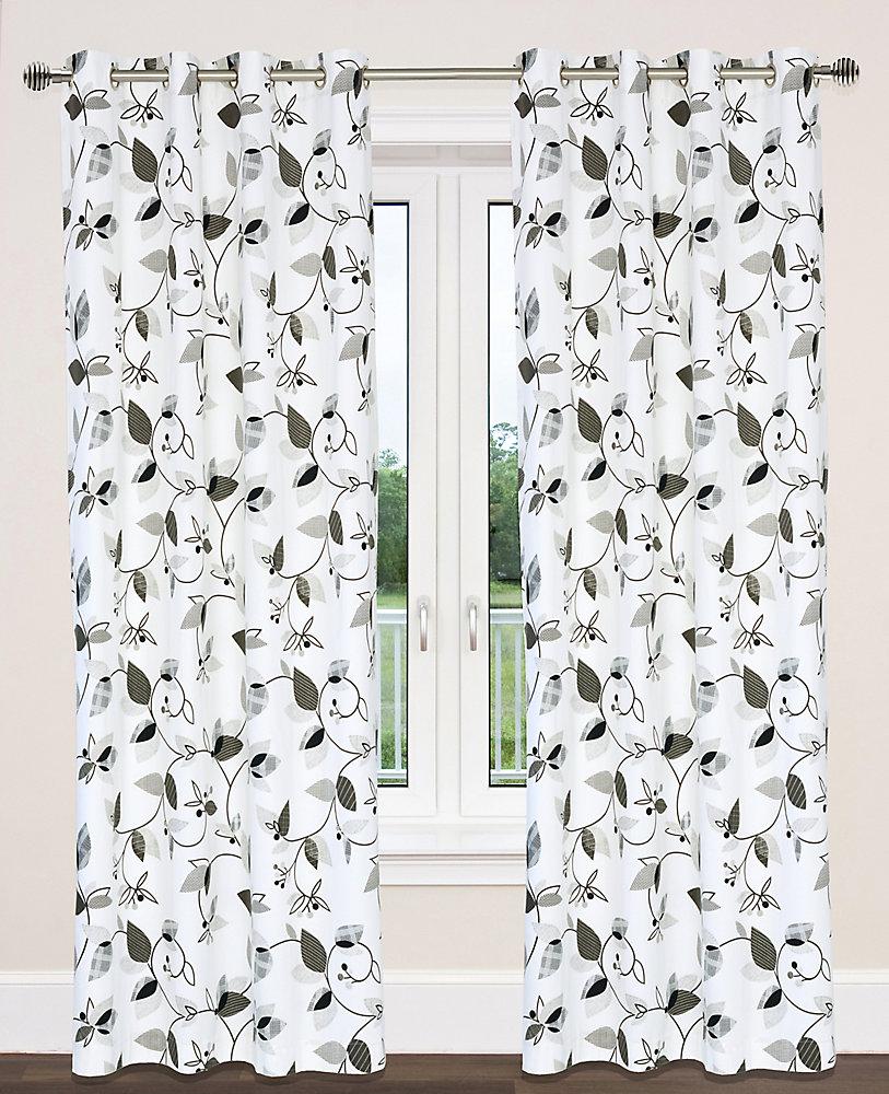 Preston Cotton Floral Print Grommet Curtain Panels (Set of 2), 54 inchW x  95 inchL, White/Black/Gray