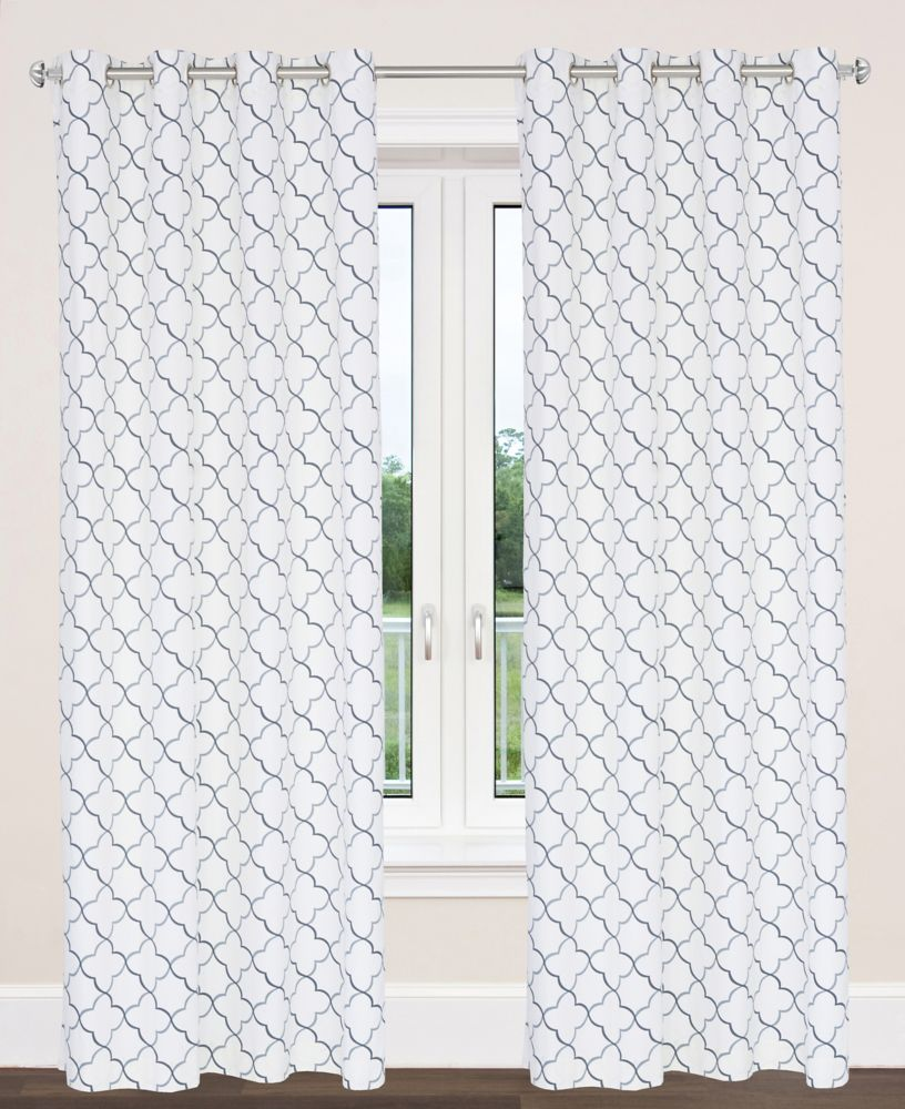 """En coton style tuile marocaine, Brighton un ensemble 2 panneaux 54""""x95"""" , Argent/Gris"""