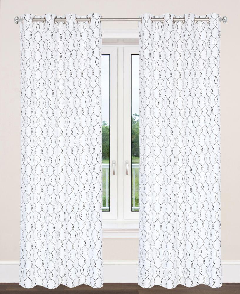 """En coton style tuile marocaine, York un ensemble 2 panneaux 54""""x95"""" , Noir/Gris"""