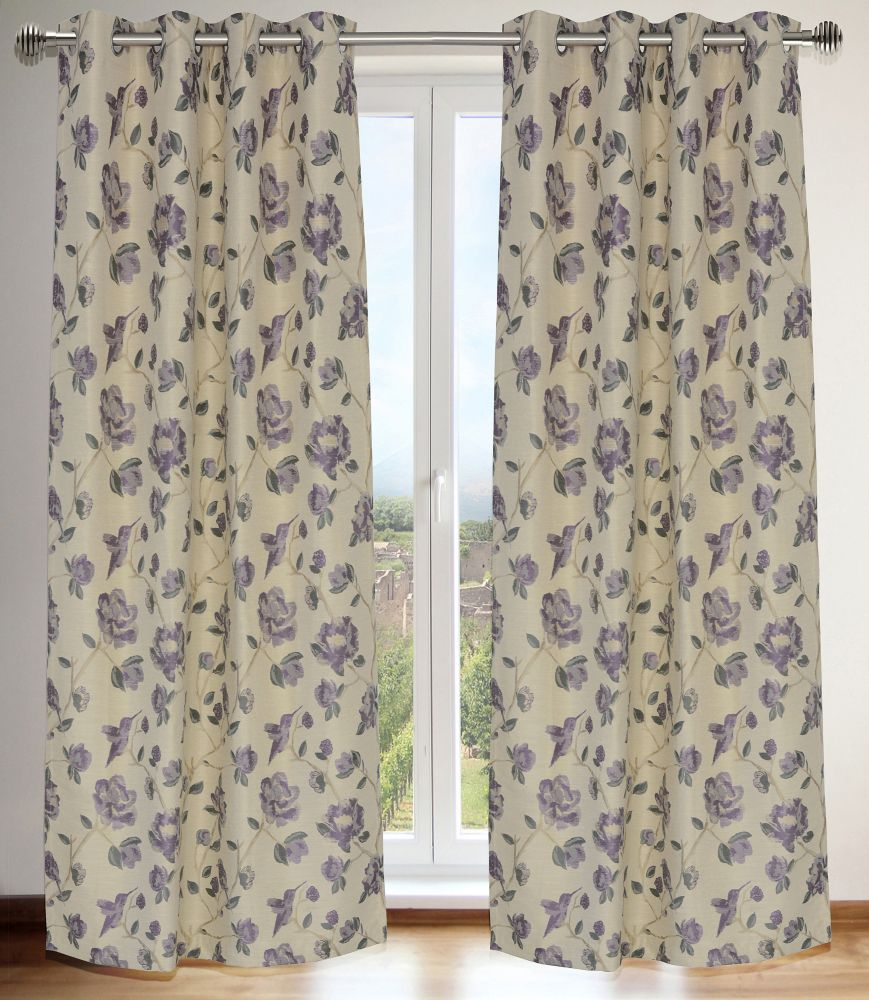 Caitlin Floral 54x95-inch Grommet 2-Pack Curtain Set, Purple/Grey