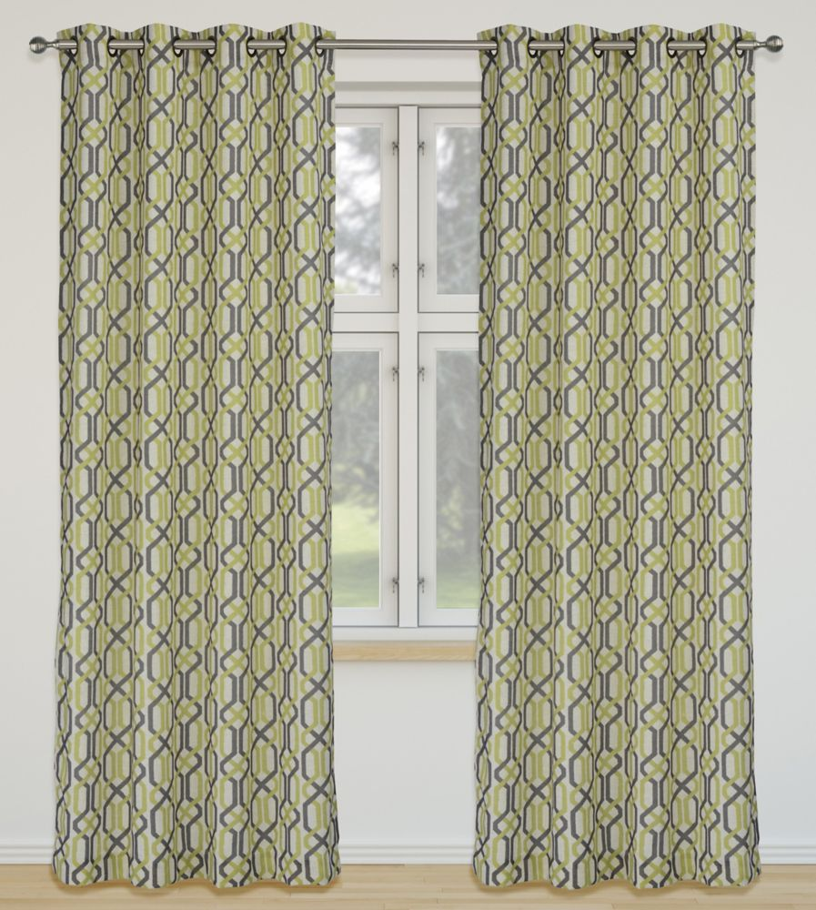 Linked 52x95-inch Linen Blend Grommet 2-Pack Curtain Set, Chartreuse/Brown