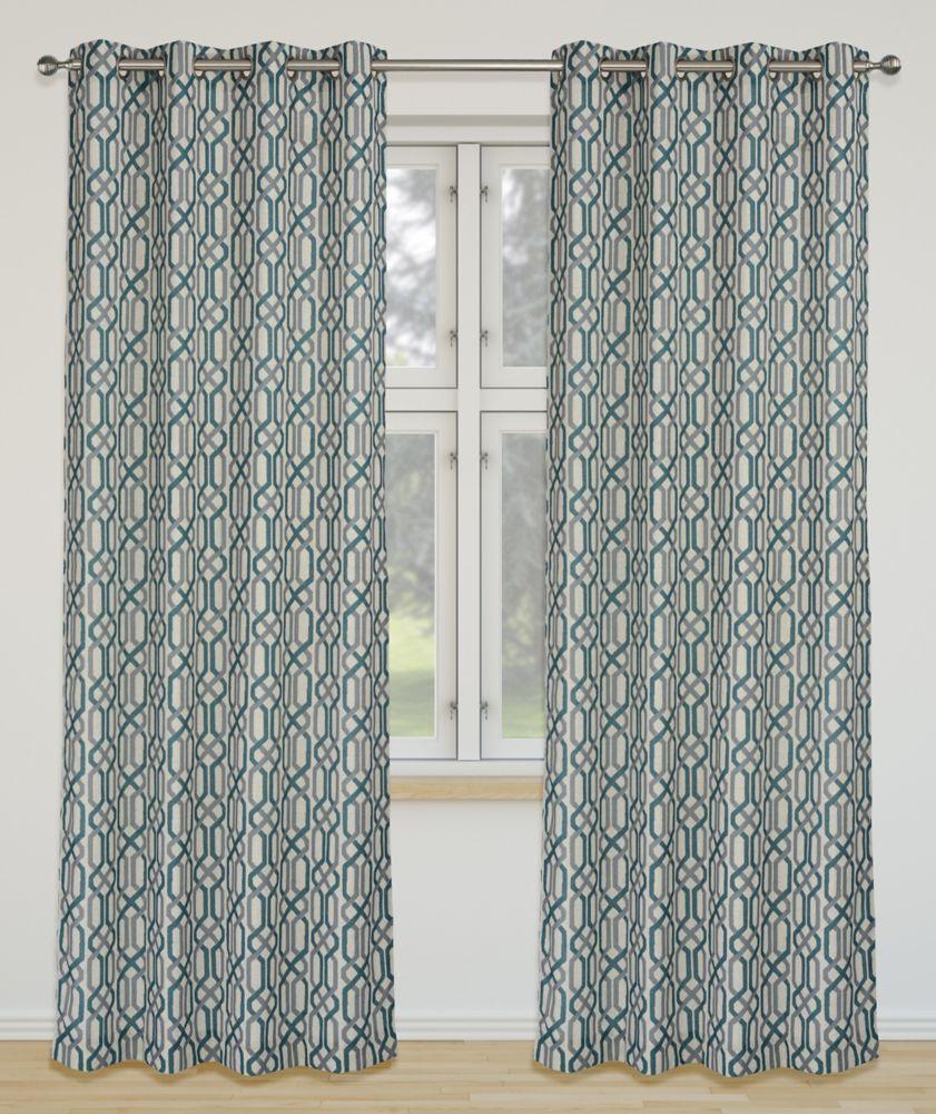 Linked 52x95-inch Linen Blend Grommet 2-Pack Curtain Set, Teal Green/Grey