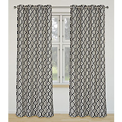 LJ Home Fashions Linked Geometric Linen Grommet Curtain Panel Set 52 inch W x 95 inch L, Ivory/Grey/Black