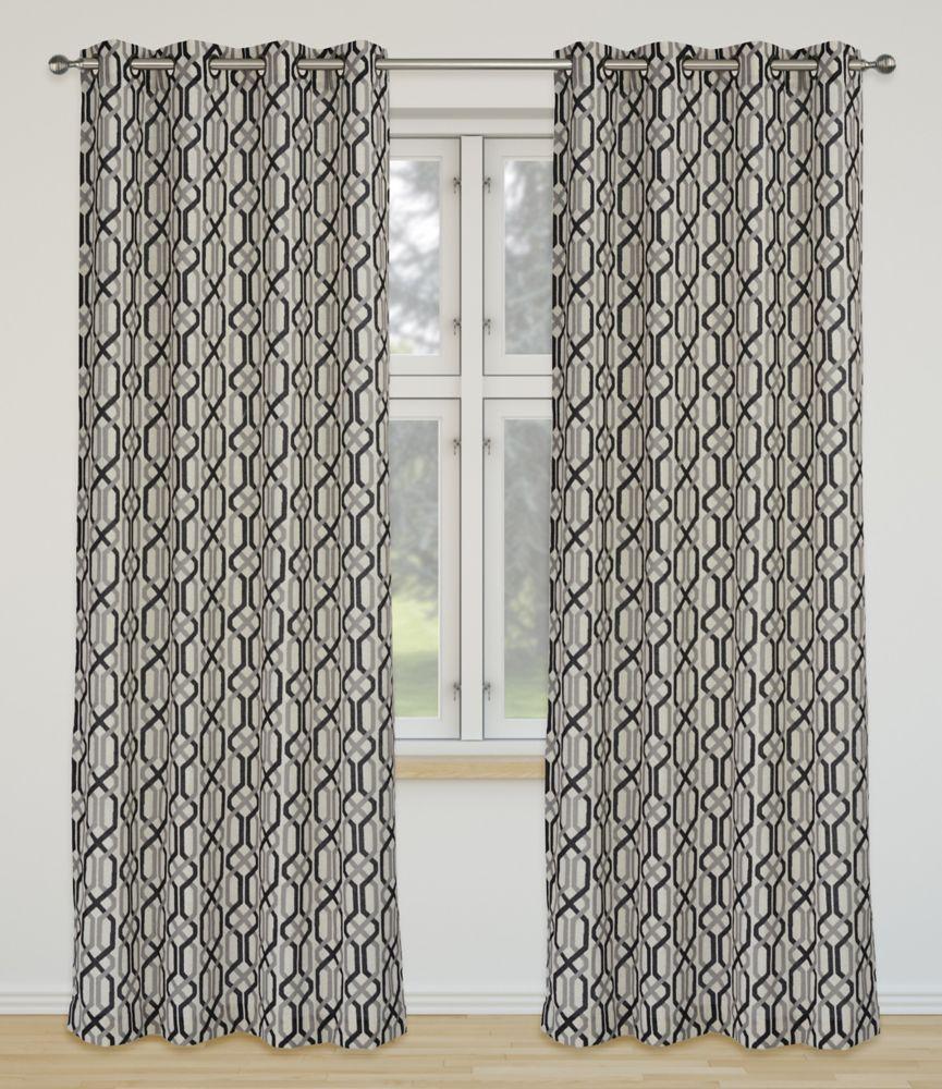 Linked 52x95-inch Linen Blend Grommet 2-Pack Curtain Set, Black/Grey