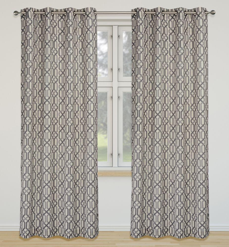 Linked 52x95-inch Linen Blend Grommet 2-Pack Curtain Set, Silver/Grey