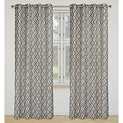 LJ Home Fashions Linked Geometric Linen Grommet Curtain Panel Set 52 inch W x 95 inch L, Ivory/Grey/Silver