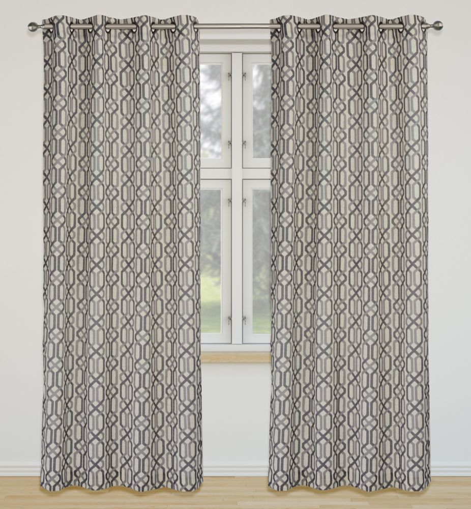 Linked 52x95-inch Linen Blend Grommet 2-Pack Curtain Set, Silver/Grey
