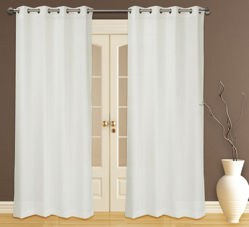 Zephyr Textured Sheer 56x95-inch Grommet 2-Pack Curtain Set, Ivory
