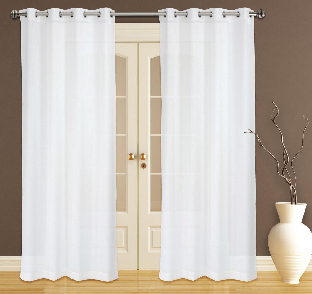 Zephyr Textured Sheer 56x95-inch Grommet 2-Pack Curtain Set, White