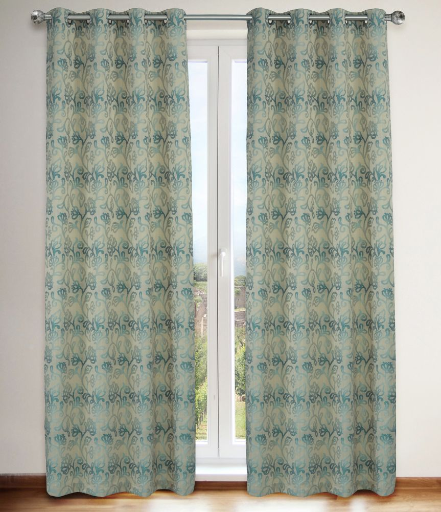 Marli Floral 54x95-inch Grommet 2-Pack Curtain Set, Turquoise/Blue