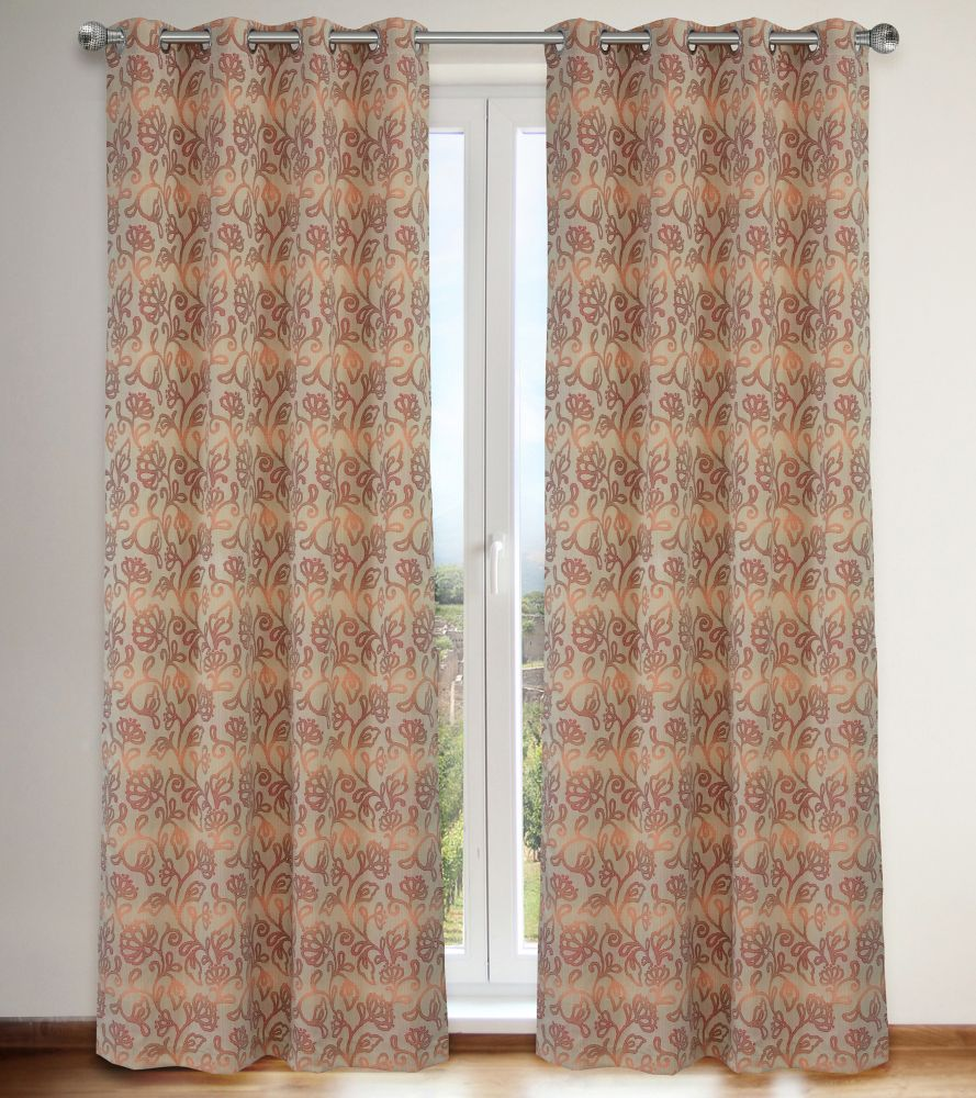 Marli Floral 54x95-inch Grommet 2-Pack Curtain Set, Red/Coral