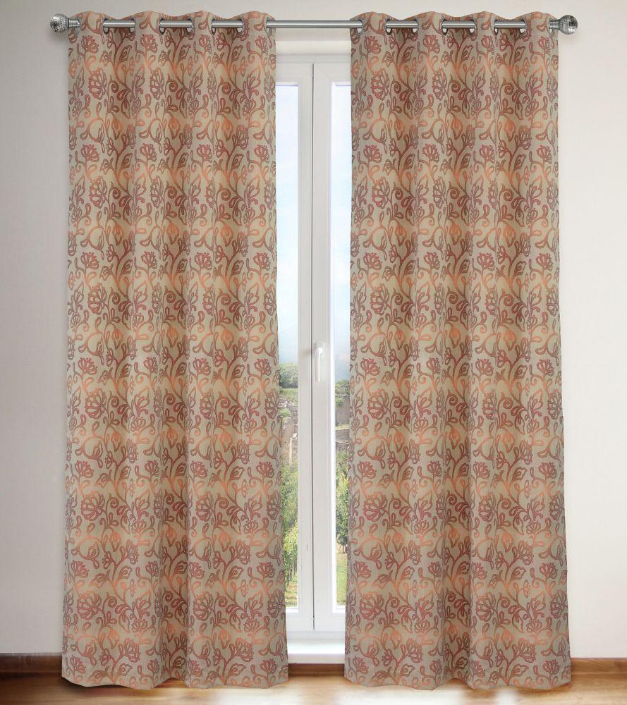 Motif ombragé floral sur Jacquard, ensemble Marli 2 panneaux 54''x95'', Corail/Rouge