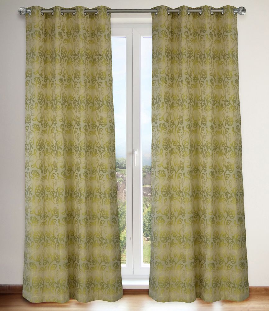 Marli Floral 54x95-inch Grommet 2-Pack Curtain Set, Chartreuse/Green