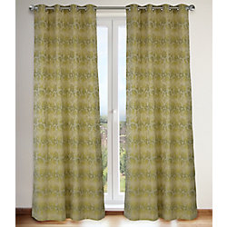 LJ Home Fashions Marli '60's Inspired Floral Grommet Curtain Panels 54x95-in, Linen Beige/Greens (Set of 2)