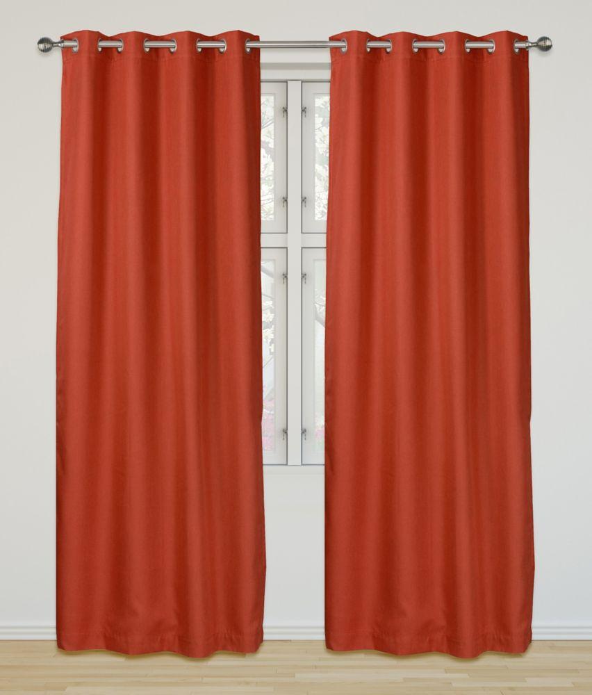 LJ Home Fashions Eclipse Room Darkening Privacy Grommet Panel Set 52 inch W x 95 inch L, Orange