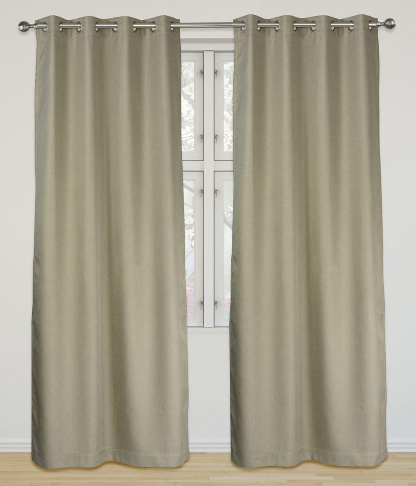 Eclipse Room Darkening 52x95-inch Grommet 2-Pack Curtain Set, Fawn Beige