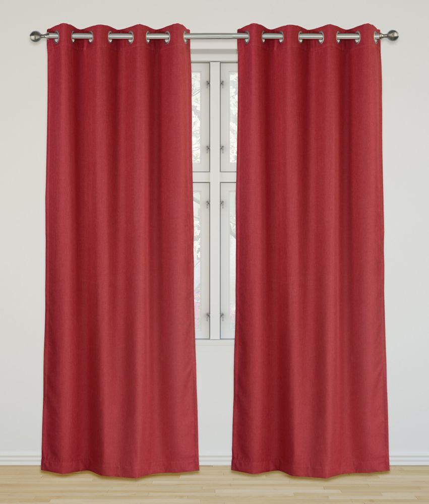 Eclipse Room Darkening 52x95-inch Grommet 2-Pack Curtain Set, Red Raspberry