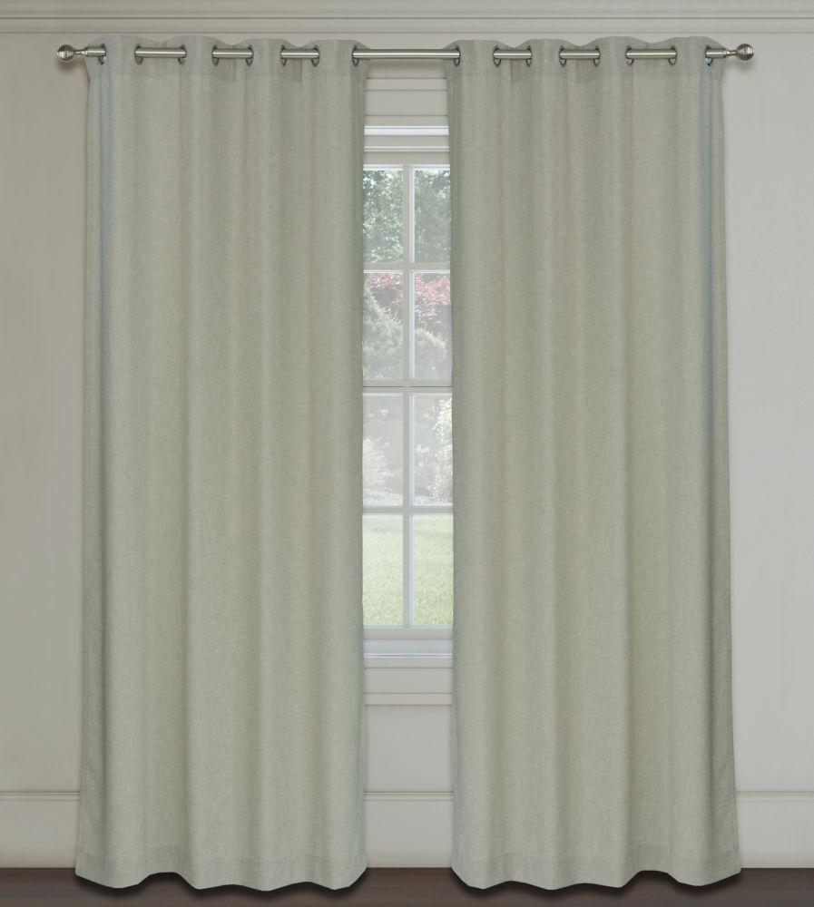 Maestro Faux Linen 54x95-inch Grommet 2-Pack Curtain Set,  Parchment Beige