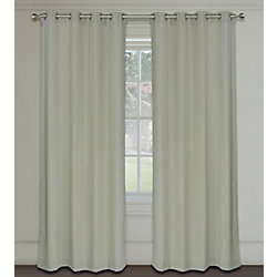 LJ Home Fashions Maestro Linen Like Grommet Curtain Panels 54x95-in, Stone Beige Grey (Set of 2)