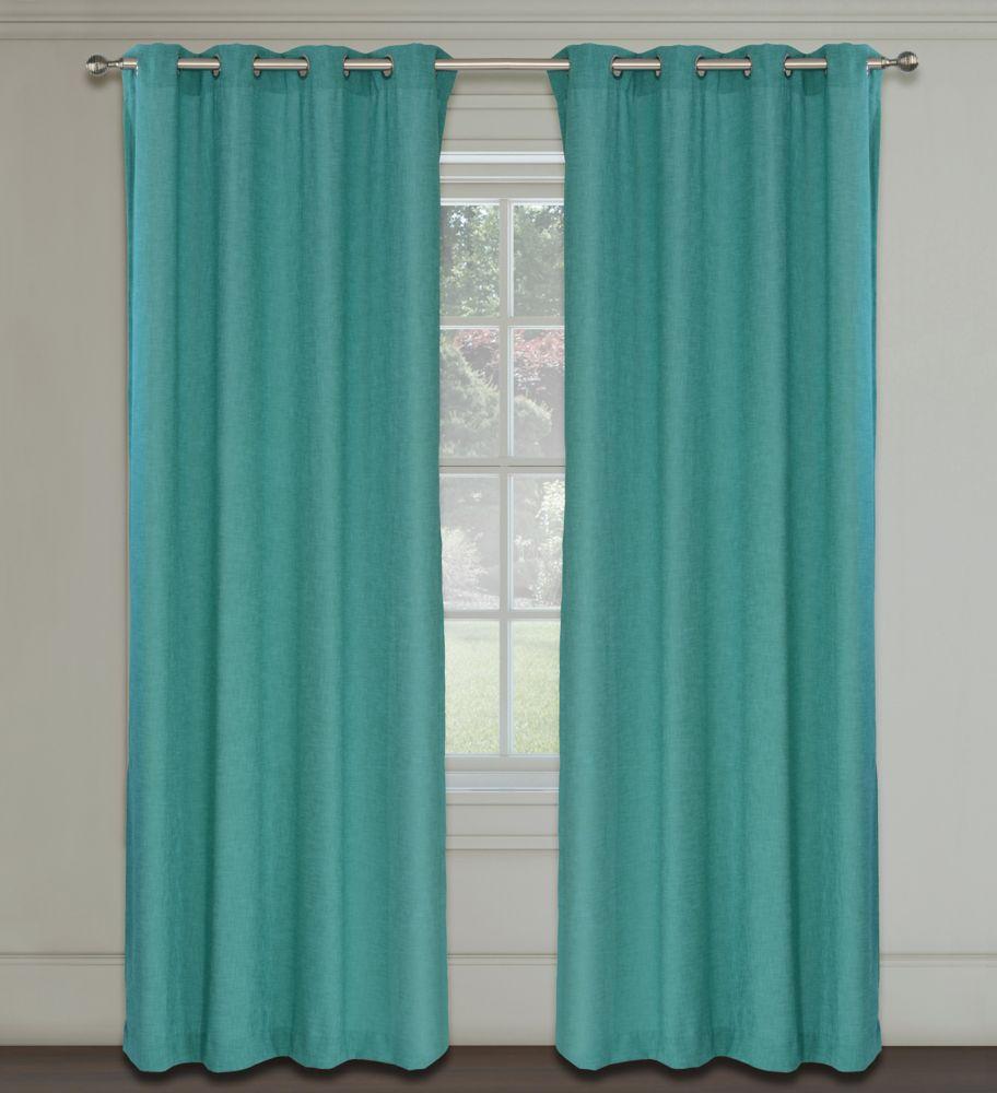 Maestro Faux Linen 54x95-inch Grommet 2-Pack Curtain Set,  Turquoise