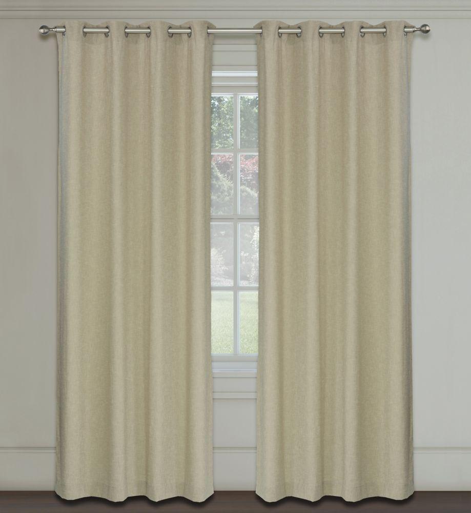 LJ Home Fashions Maestro Linen Like Grommet Curtain Panel Set,  54 inch W x 95 inch L, Linen Beige