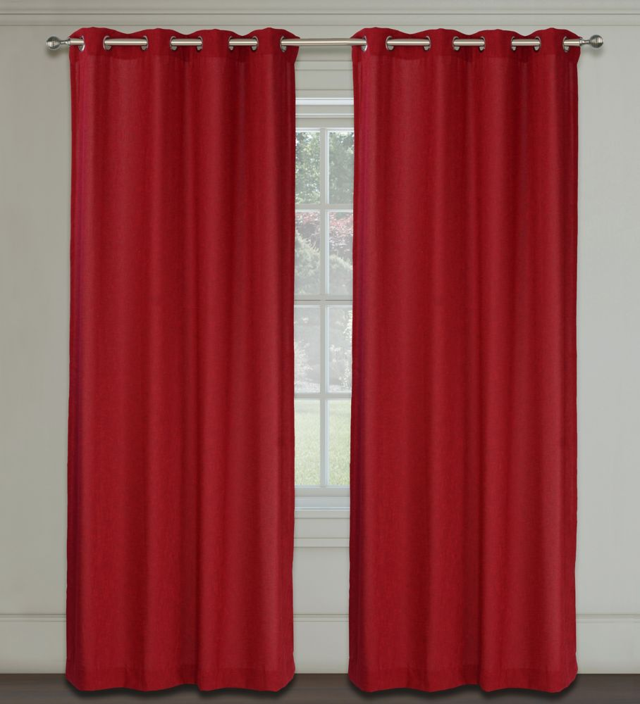 Maestro Faux Linen 54x95-inch Grommet 2-Pack Curtain Set,  Venetian Red