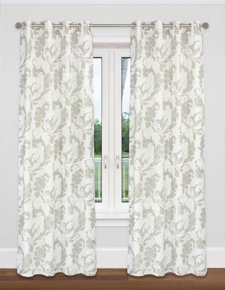 Floral Faux Linen 54x95 Dana Grommet Curtain Set, White/Taupe