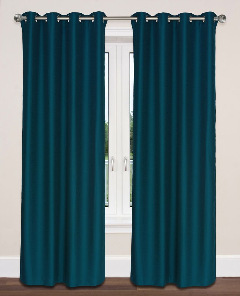 Twilight Room Darkening 54x95-inch Grommet 2-Pack Curtain Set, Peacock Blue