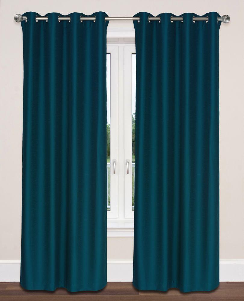 Twilight Room Darkening 54x95-inch Grommet 2-Pack Curtain Set, Peacock Blue