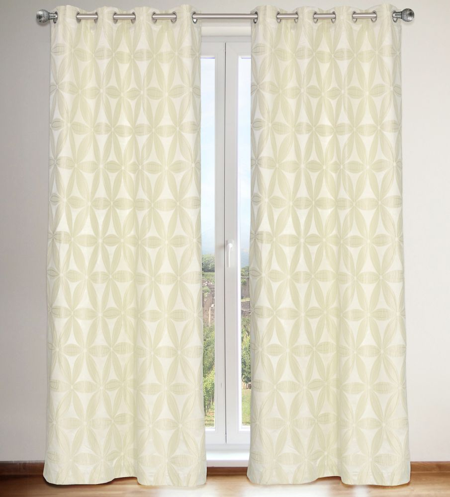 Daisy Lined Floral 56x95-inch Grommet 2-Pack Curtain Set, Ivory
