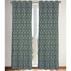 LJ Home Fashions Daisy Floral Faux Silk Lined Grommet Curtain Panels 56x95-in, Grey (Set of 2)