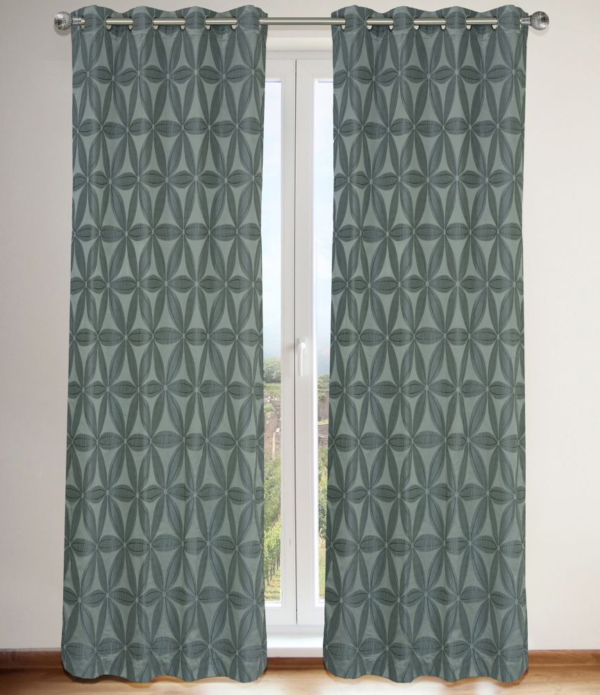 Daisy Lined Floral 56x95-inch Grommet 2-Pack Curtain Set, Grey