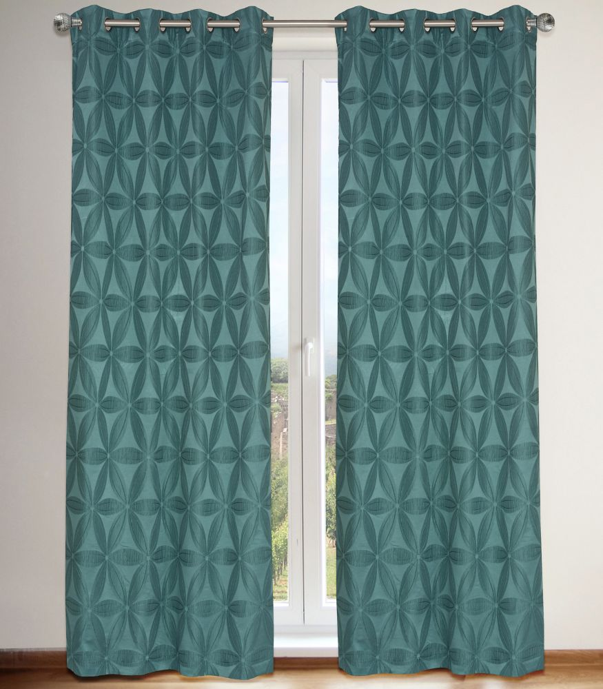 Daisy Lined Floral 56x95-inch Grommet 2-Pack Curtain Set, Teal Blue/Green