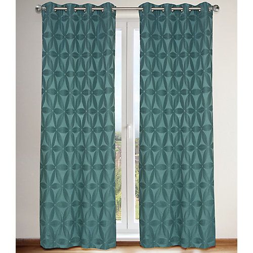 Daisy Floral Faux Silk Lined Grommet Curtain Panels (Set of 2) 56x95-in, Sea Blue