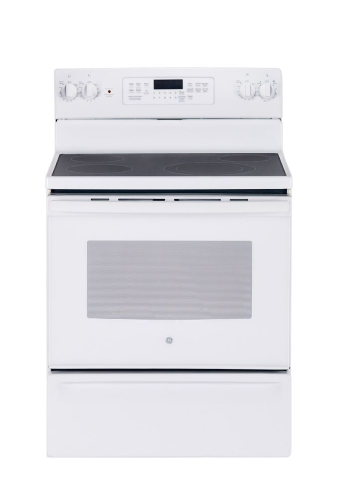 """GE 30"""" 5.0 cu. ft. Electric Range with Self Cleaning/Steam Clean True Convection Oven in White"""