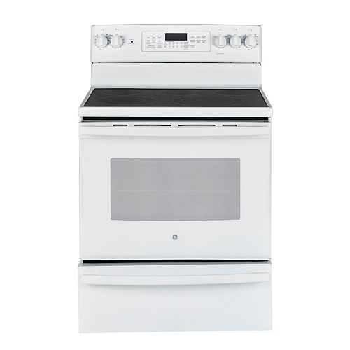 GE 30-inch 5.0 cu. ft. Single Oven Electric Range with Self-Cleaning Convection Oven in White